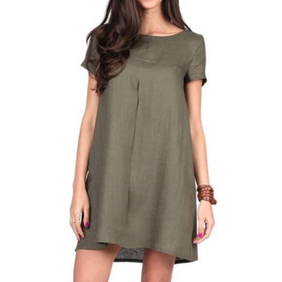 80086bb4c3b1 Olive Linen Pleat Shift Dress Carla by Rozarancio